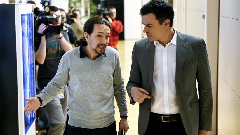 Pedro Sánchez: Podemos-Chef Pablo Iglesias und Sozialisten-Chef Pedro Sánchez kommen bisher politisch nicht zusammen.