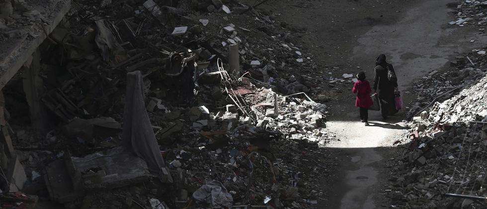 Zerstörtes Viertel in der syrischen Hauptstadt Damaskus