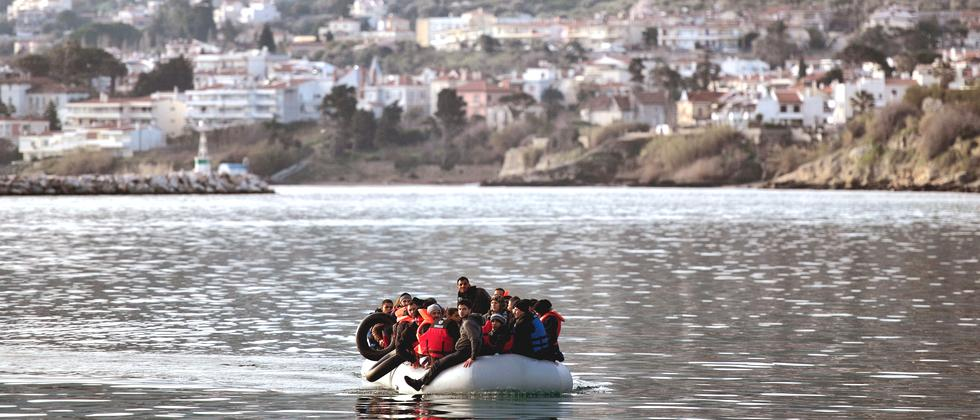 Flüchtlinge vor der griechischen Insel Lesbos