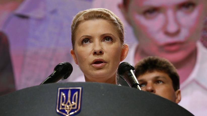 Ukraine: Julija Timoschenko, die Vorsitzende der Vaterlandspartei, bei einer Ansprache in Kiew (Bild aus dem Jahr 2014)