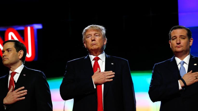 US-Wahlkampf: Die republikanischen Bewerber ums Präsidentenamt Rubio, Trump und Cruz (v.l.n.r.)