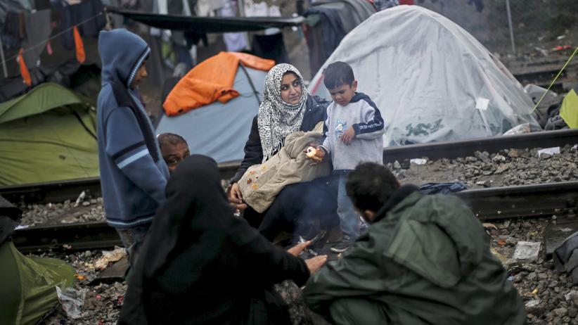 EU-Türkei-Verhandlungen: Eine syrische Familie nahe des griechischen Dorfes Idomeni