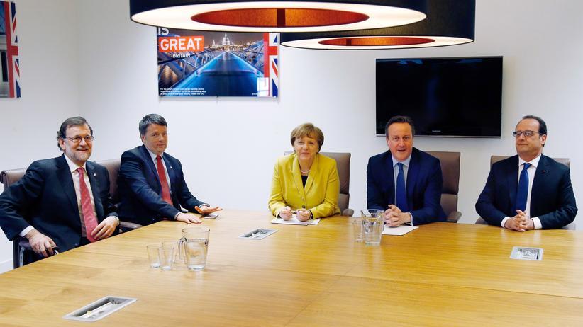Von links: Die Regierungschefs von Spanien, Mariano Rajoy, Italian, Matteo Renzi, Deutschland, Angela Merkel, und Großbritannien, David Cameron, sowie Frankreichs Präsident François Hollande