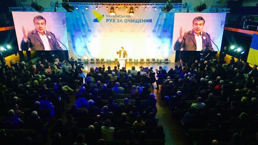 Michail Saakaschwili: Michail Saakaschwili spricht vor Anhängern seiner Antikorruptionsbewegung.