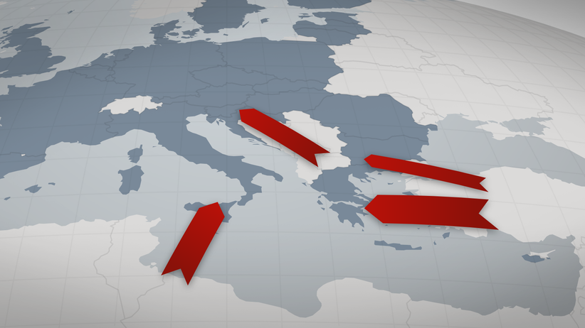 Flüchtlimgsrouten, Flüchtlinge, Flucht nach Europa