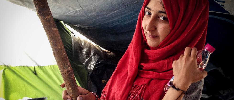 Die 26-jährige Wisam an ihrem letzten Tag im Camp in Idomeni