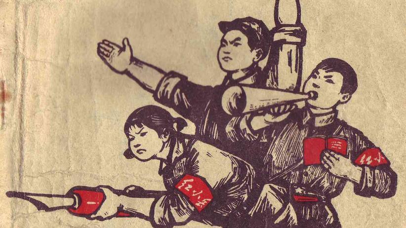 Rotgardisten mit Armbinden und Mao-Bibeln