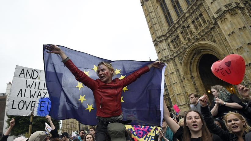 Brexit-Referendum: Demonstranten protestieren vor dem House of Parliament in London gegen den Brexit.