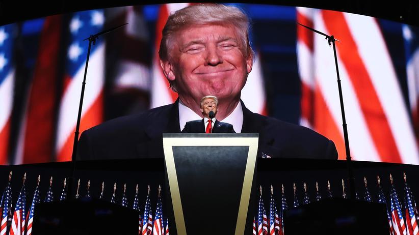 Donald Trump während seiner Grundsatzrede auf dem Nominierungsparteitag der Republikaner in Cleveland