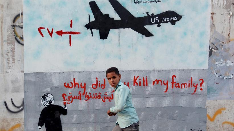 Geheimdienst-Bericht: Protestgraffito gegen US-Drohnenangriffe im Jemen