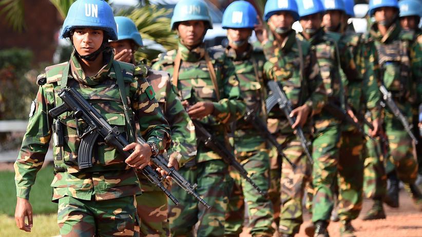 Vereinte Nationen: UN-Blauhelme patrouillieren in der Zentralafrikanischen Hauptstadt Bangui.
