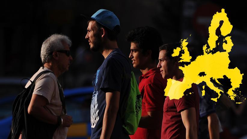 Europäische Union: Passanten in Madrid