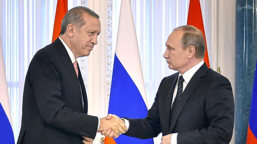 Der russische Präsident Wladimir Putin und sein türkischer Amtskollege Recep Tayyip Erdoğan in St. Petersburg