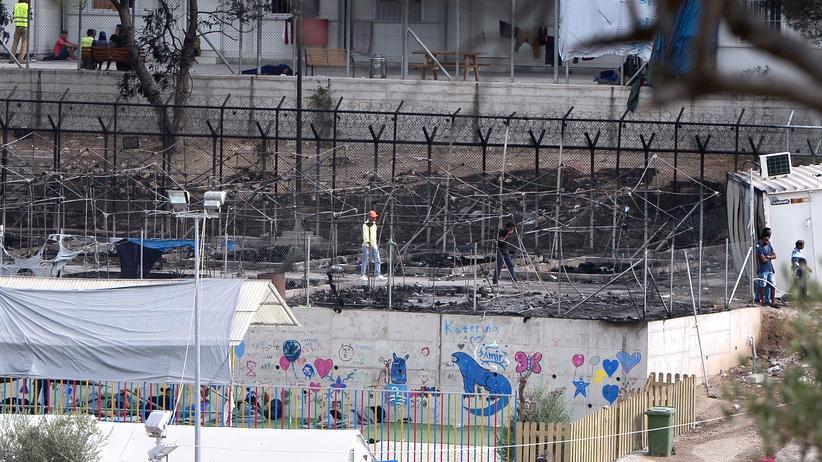 Lesbos: Das Flüchtlingslager Moria auf der griechischen Insel Lesbos nach dem Brand