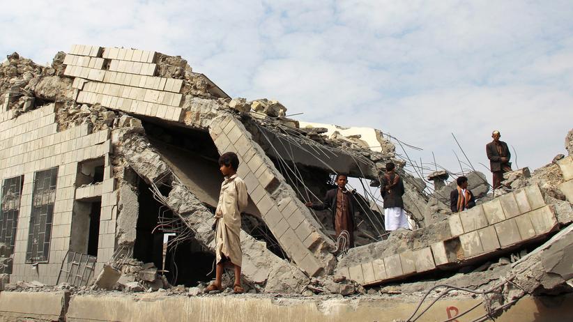 Jemen: Eine zerstörte Schule in der jemenitischen Stadt Saada