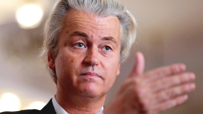 Geert Wilders bei einer Pressekonferenz in Budapest