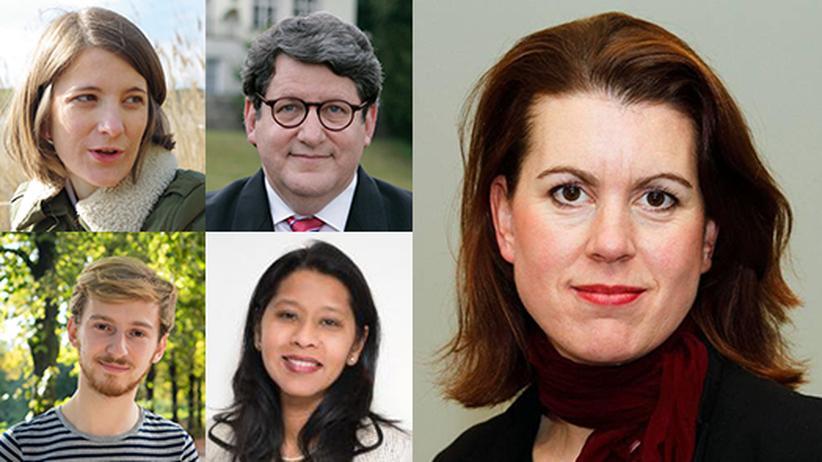 #1wahl1000fragen: Im Uhrzeigersinn von links oben: Laura von Daniels, Gary Smith, Melissa Eddy, Sudha David-Wilp, Louis Brickman