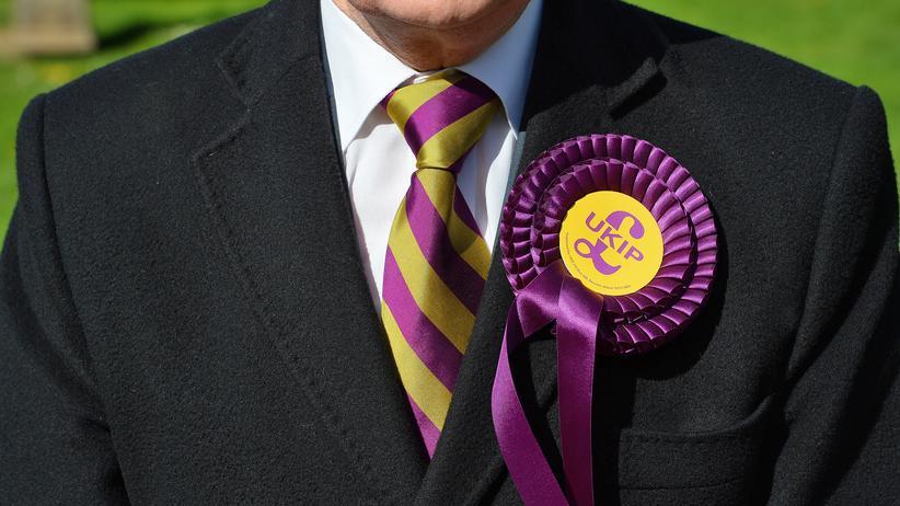 Großbritannien: Ein Wähler der Euro-kritischen Partei UK Independence Party (Ukip) in Großbritannien.