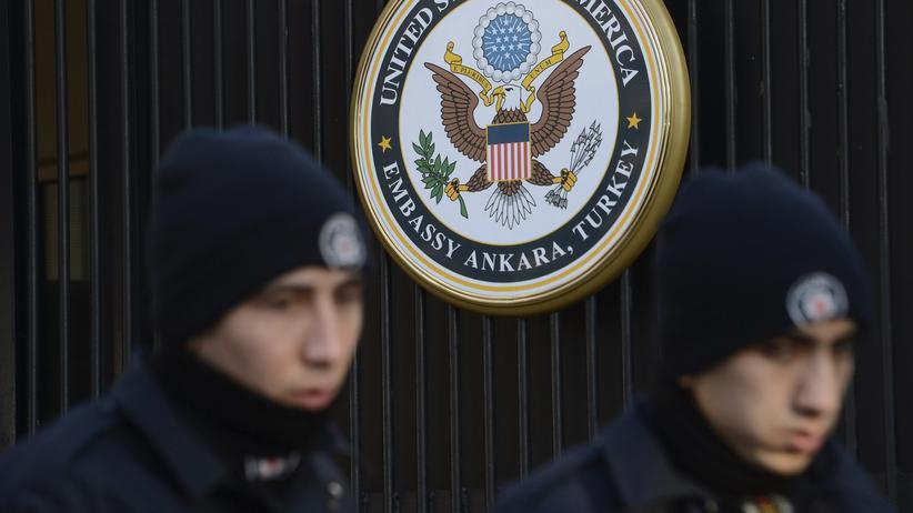 Ankara: Türkische Polizei vor der US-Botschaft in Ankara (Archivbild)