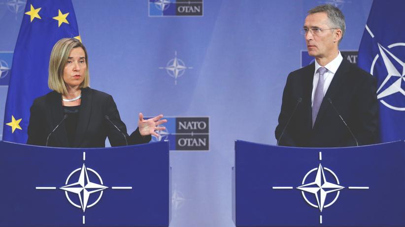 Verteidigungspolitik: EU-Außenbeauftragte Federica Mogherini und Nato-Generalsekretär Jens Stoltenberg in Brüssel