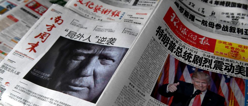 Chinesische Zeitungstitelseiten