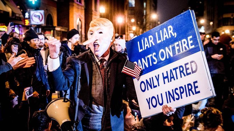 """""""Alternative Fakten"""": Trump-Gegner bei einer Demonstration zur Amtseinführung des US-Präsidenten am 20. Januar in Washington."""