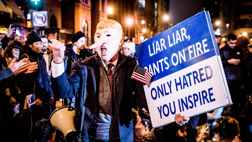 """Alternative Facts"": People protesting Donald Trumps Inauguration in Washington."