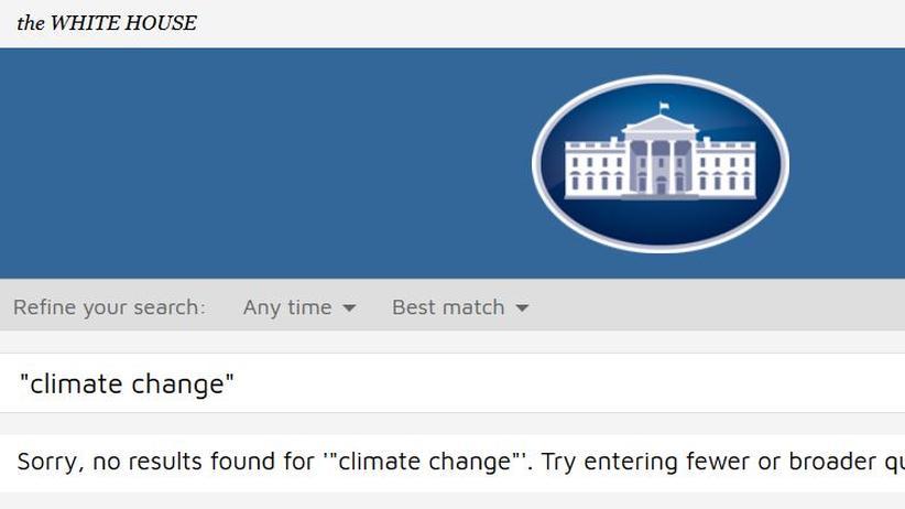 """Donald Trump: Der Suchbegriff """"Klimawandel"""" führt derzeit zu keinen Ergebnis."""