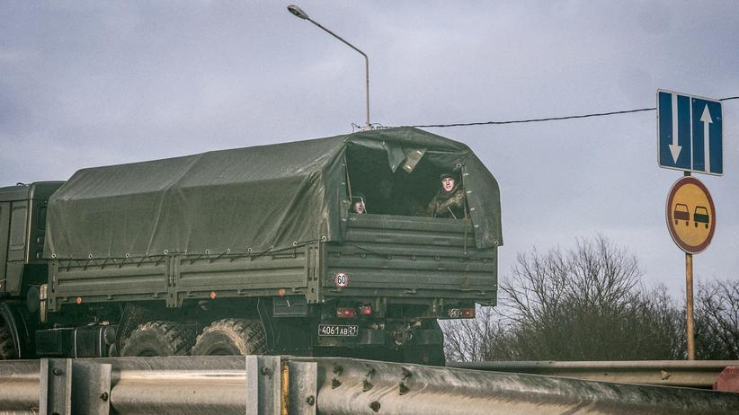 Russia: Soldiers in a truck near the Molkino training camp in southwestern Russia