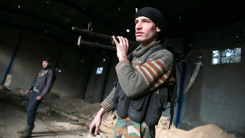 Ein Rebellenkämpfer in der Nähe von Damaskus