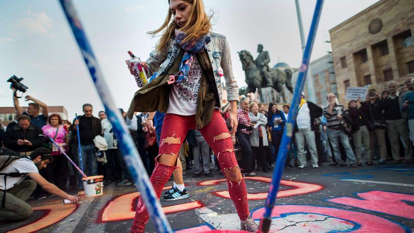 Balkan: Anti-Regierungsprotest in Skopje, Mazedonien