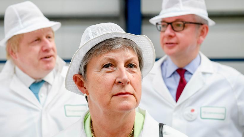 Gisela Stuart: Brexit-Kampagne 2016: Gisela Stuart besucht mit Michael Gove und Boris Johnson die DCS Group, ein Unternehmen, das Seife herstellt.
