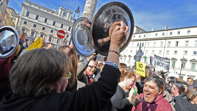 Europäische Union: Demonstration gegen EU-Politik in Rom