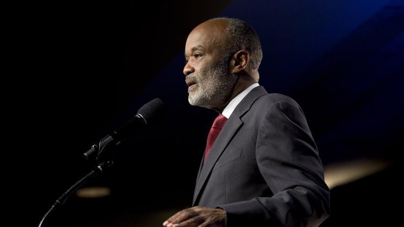 René Préval: Der damalige Präsident von Haiti, Réné Préval, bei einer Rede im Jahr 2010