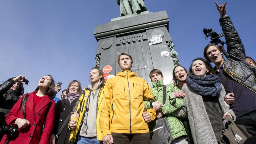 Moskau: Teilnehmer einer nicht genehmigten Demonstration in Moskau