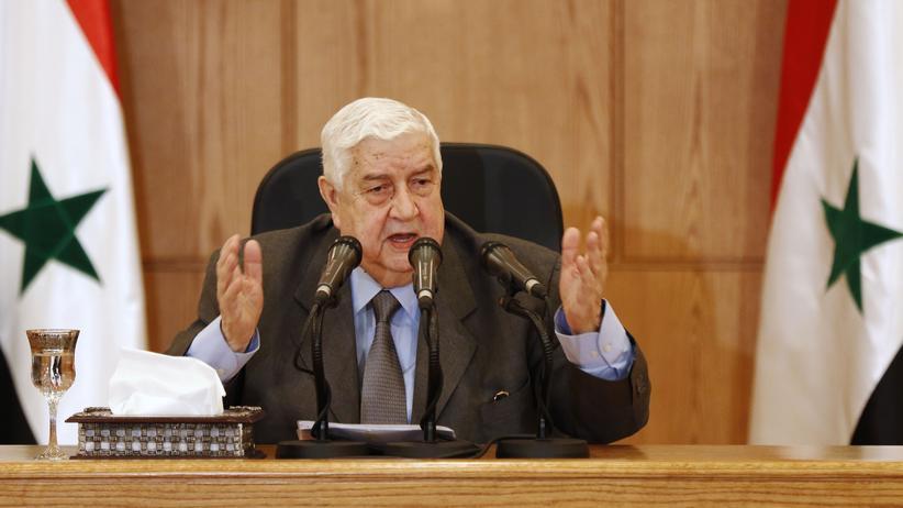 US-Raketenangriff auf Syrien: Der syrische Außenminister Walid al-Muallim während einer Pressekonferenz in Damaskus, Syrien