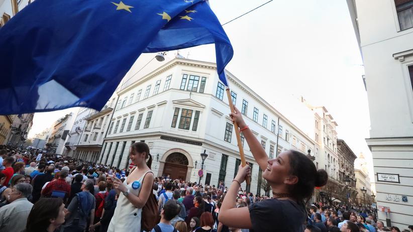 Ungarn: Protest gegen die neuen ungarischen Hochschulgesetze vor der Zentraleuropäischen Universität in Budapest