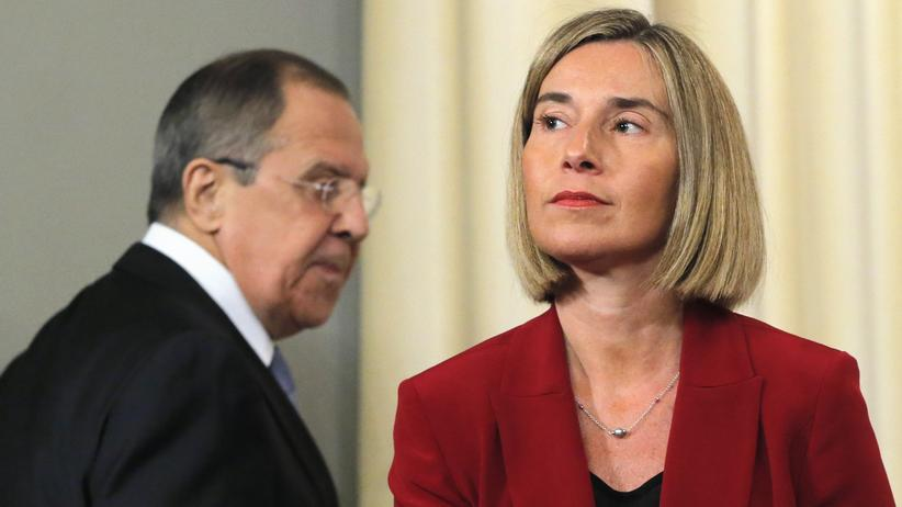 Federica Mogherini: Die EU-Außenbeauftragte Federica Mogherini nach ihrem Gespräch mit dem russischen Außenminister Sergej Lawrow in Moskau