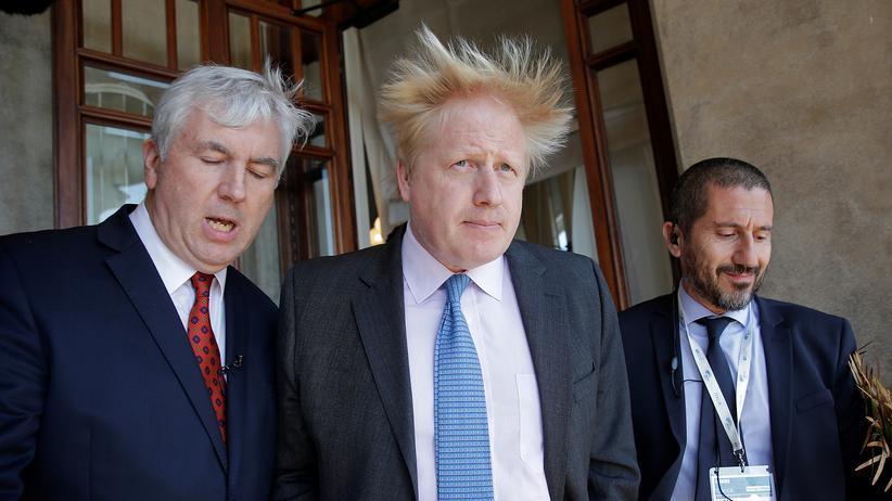 Boris Johnson: Viel Gegenwind: der britische Außenminister Boris Johnson nach einem bilateralen Gespräch beim G7-Außenministertreffen in Lucca, Italien