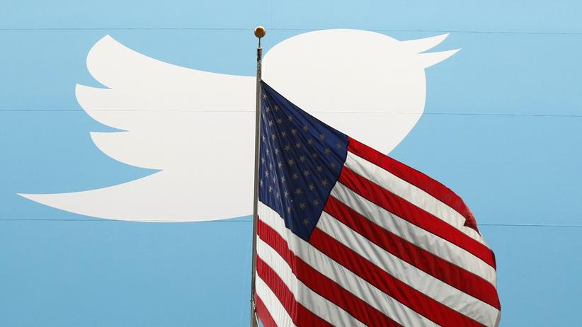 US-Präsident: Twitter-Logo, US-Flagge