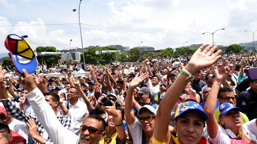 Venezuela: Demonstranten der Opposition in Caracas am vergangenen Montag