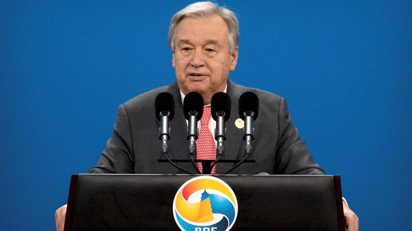 Pariser Abkommen: UN-Generalsekretär António Guterres bei einer Ansprache in Peking (Archiv)
