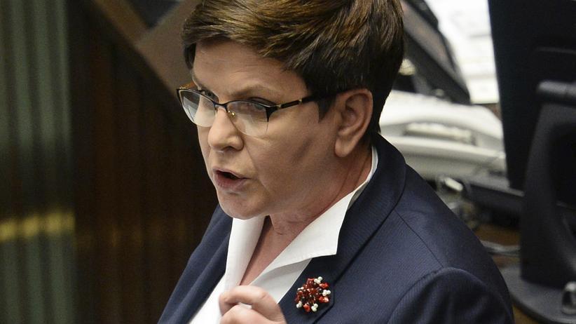 Polen: Die polnische Premierministerin Beata Szydło bei ihrer Anti-EU-Rede im Parlament