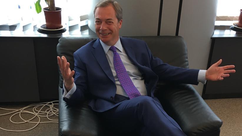 Nigel Farage in seinem Büro im Europäischen Parlament
