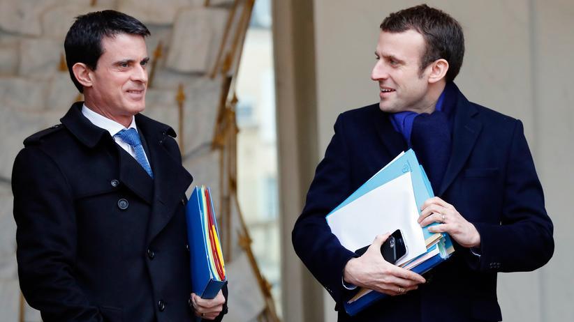Manuel Valls: Ex-Premier Manuel Valls (l) und sein früherer Wirtschaftsminister, Emmanuel Macron, im März 2016 in Paris