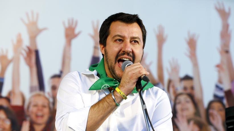 Matteo Salvini: Matteo Salvini, Chef der rechten Partei Lega Nord, bei einer Rede in Bologna