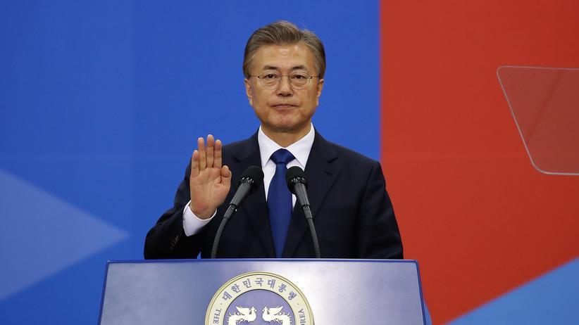 Südkorea: Der neue Präsident Moon Jae In bei seiner Vereidigung