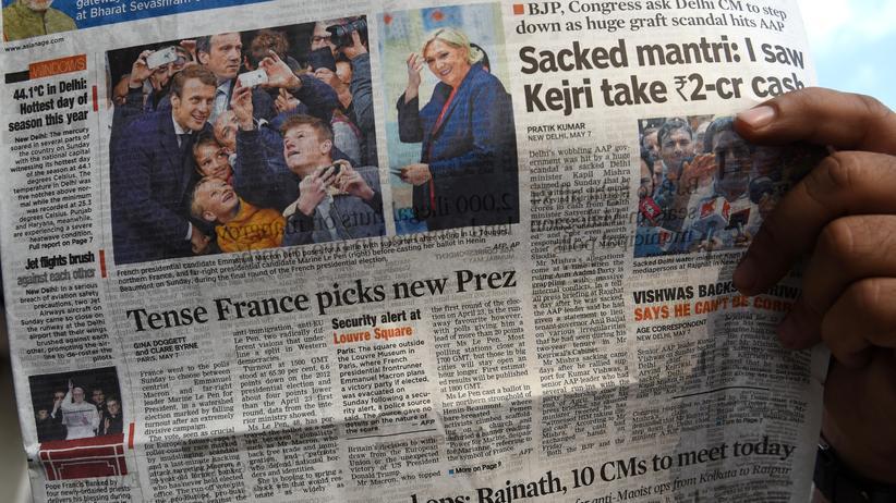 Presseschau zu Frankreich: Ein Titelseite aus Indien zum Sieg von Emmanuel Macron in Frankreich