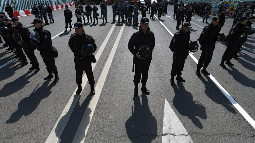 Russland: Polizisten bei einer Demonstration Anfang Mai in Moskau