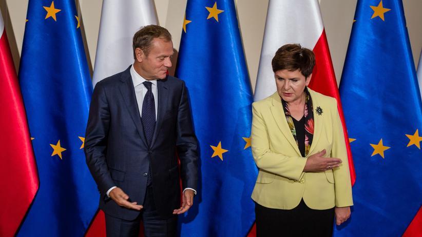 Polen, die einen sehr unterschiedlichen Blick auf Europa haben: EU-Ratspräsident Donald Tusk und die polnische Premierministerin Beata Szydlo in Warschau